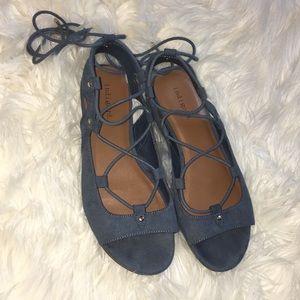 Indigo rd blue velvet leather gladiator sandals